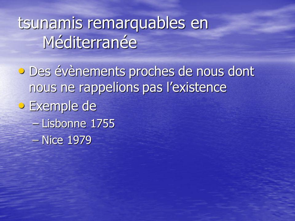 tsunamis remarquables en Méditerranée Des évènements proches de nous dont nous ne rappelions pas l'existence Des évènements proches de nous dont nous ne rappelions pas l'existence Exemple de Exemple de –Lisbonne 1755 –Nice 1979