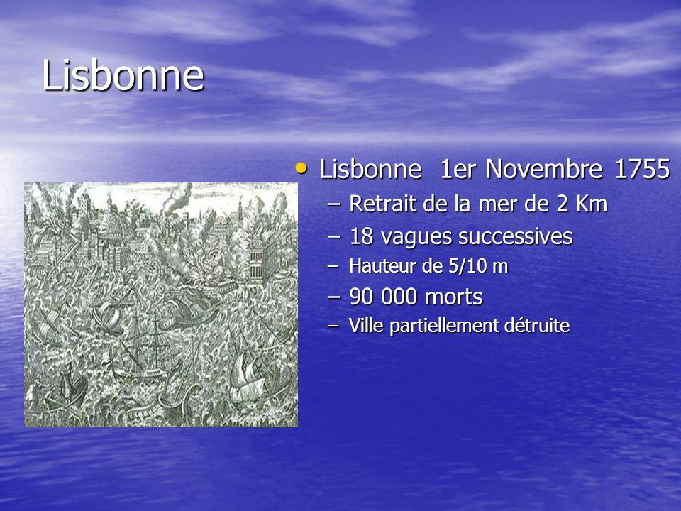 Lisbonne Lisbonne 1er Novembre 1755 Lisbonne 1er Novembre 1755 –Retrait de la mer de 2 Km –18 vagues successives –Hauteur de 5/10 m –90 000 morts –Ville partiellement détruite