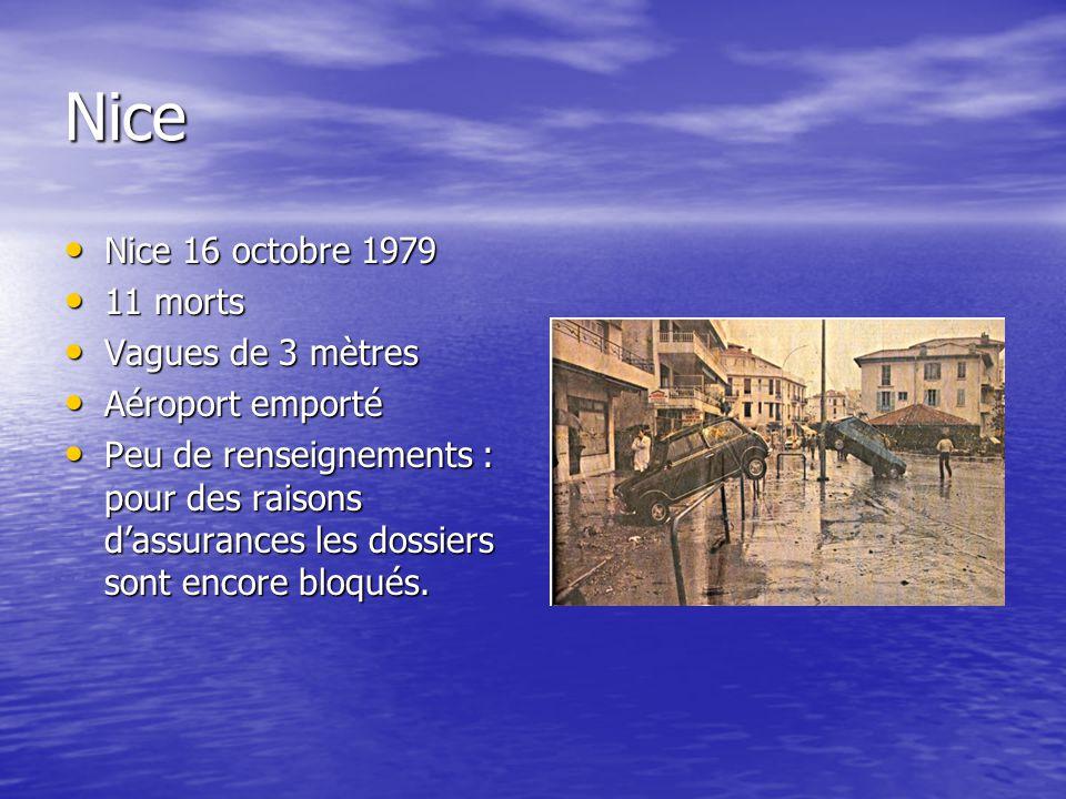Nice Nice 16 octobre 1979 Nice 16 octobre 1979 11 morts 11 morts Vagues de 3 mètres Vagues de 3 mètres Aéroport emporté Aéroport emporté Peu de renseignements : pour des raisons d'assurances les dossiers sont encore bloqués.