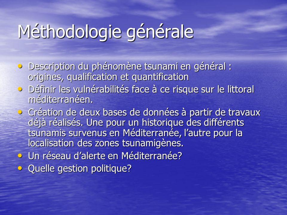 Méthodologie générale Description du phénomène tsunami en général : origines, qualification et quantification Description du phénomène tsunami en géné