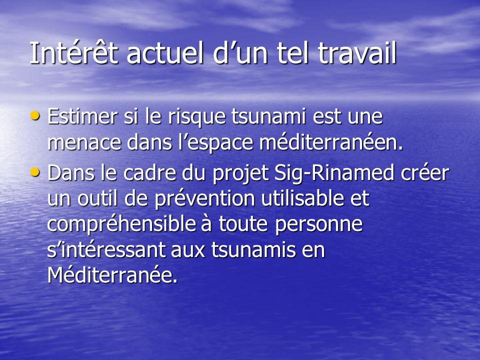 Intérêt actuel d'un tel travail Estimer si le risque tsunami est une menace dans l'espace méditerranéen. Estimer si le risque tsunami est une menace d