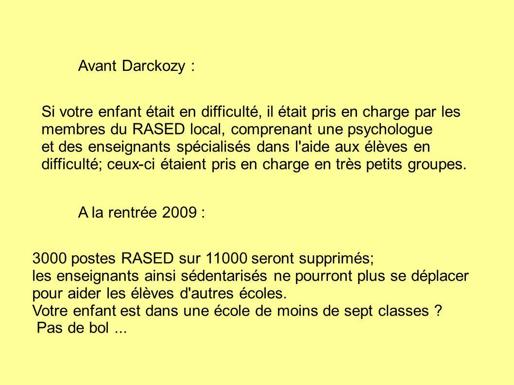 Avant Darckozy : Si votre enfant était en difficulté, il était pris en charge par les membres du RASED local, comprenant une psychologue et des enseignants spécialisés dans l aide aux élèves en difficulté; ceux-ci étaient pris en charge en très petits groupes.