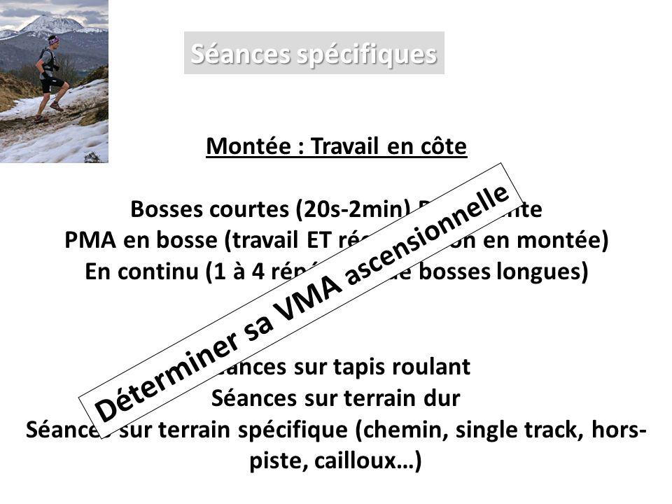 Séances spécifiques Montée : Travail en côte Bosses courtes (20s-2min) R=descente PMA en bosse (travail ET récupération en montée) En continu (1 à 4 r