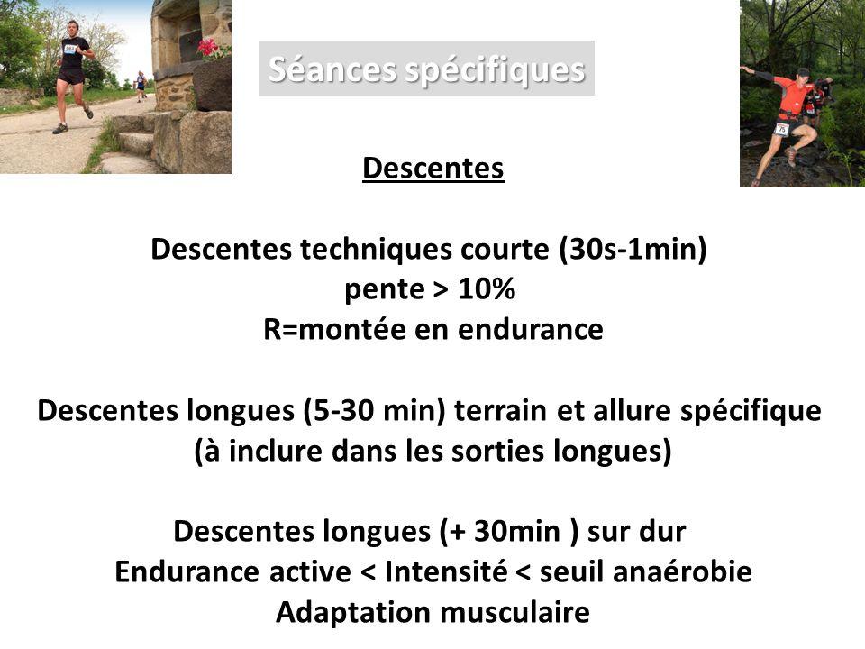 Séances spécifiques Descentes Descentes techniques courte (30s-1min) pente > 10% R=montée en endurance Descentes longues (5-30 min) terrain et allure spécifique (à inclure dans les sorties longues) Descentes longues (+ 30min ) sur dur Endurance active < Intensité < seuil anaérobie Adaptation musculaire