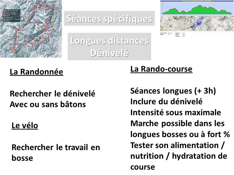 Séances spécifiques La Rando-course Séances longues (+ 3h) Inclure du dénivelé Intensité sous maximale Marche possible dans les longues bosses ou à fo