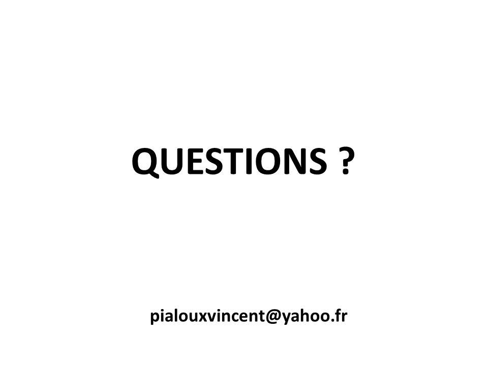 QUESTIONS ? pialouxvincent@yahoo.fr