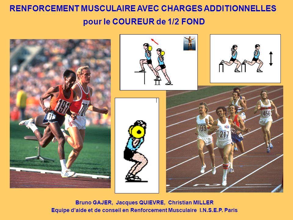 RENFORCEMENT MUSCULAIRE AVEC CHARGES ADDITIONNELLES pour le COUREUR de 1/2 FOND Bruno GAJER, Jacques QUIEVRE, Christian MILLER Equipe d'aide et de con