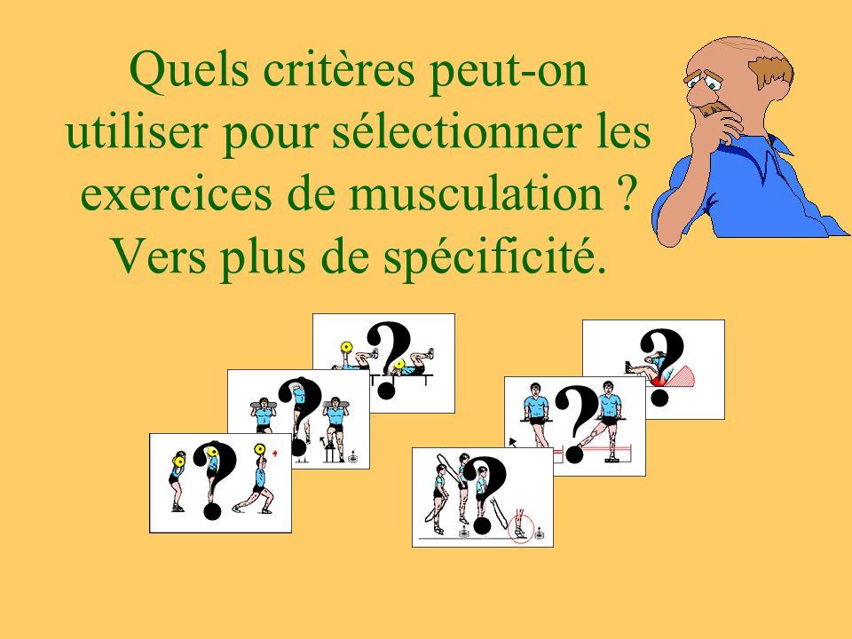 Quels critères peut-on utiliser pour sélectionner les exercices de musculation ? Vers plus de spécificité. ? ??? ? ?