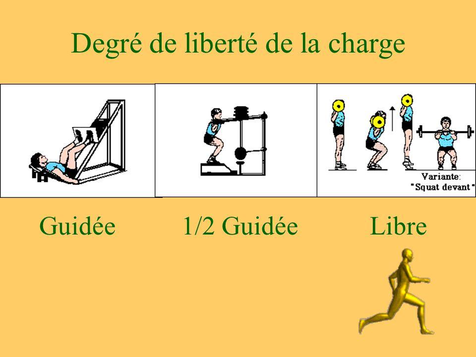 Degré de liberté de la charge Libre1/2 GuidéeGuidée