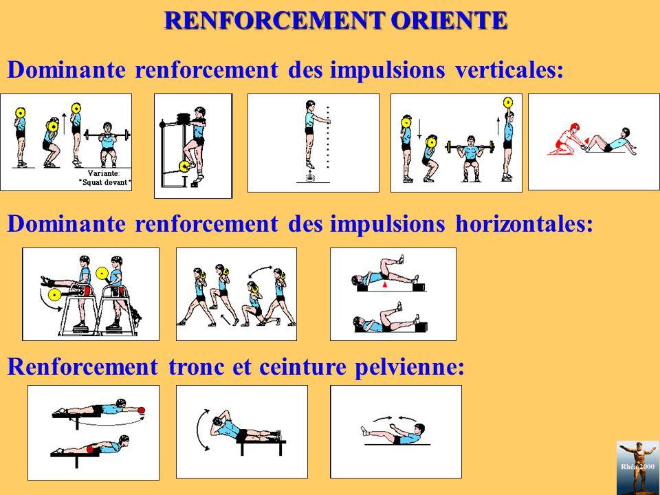 RENFORCEMENT ORIENTE Dominante renforcement des impulsions verticales: Dominante renforcement des impulsions horizontales: Renforcement tronc et ceint