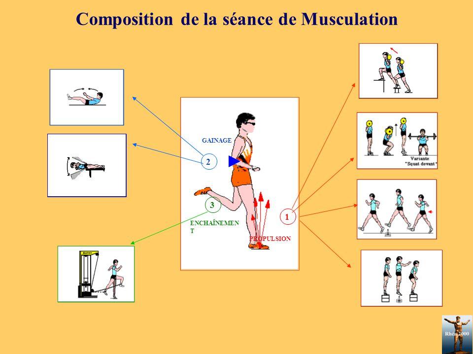 Composition de la séance de Musculation GAINAGE 1 PROPULSION 3 ENCHAÎNEMEN T 2