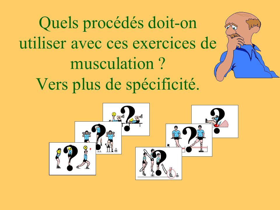 Quels procédés doit-on utiliser avec ces exercices de musculation ? Vers plus de spécificité. ? ??? ? ?