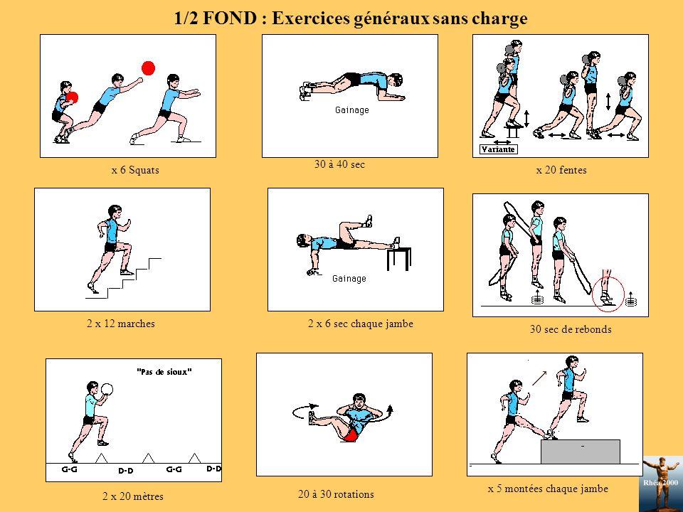 x 6 Squats 2 x 20 mètres x 5 montées chaque jambe 2 x 12 marches 20 à 30 rotations 30 sec de rebonds 30 à 40 sec x 20 fentes 2 x 6 sec chaque jambe 1/