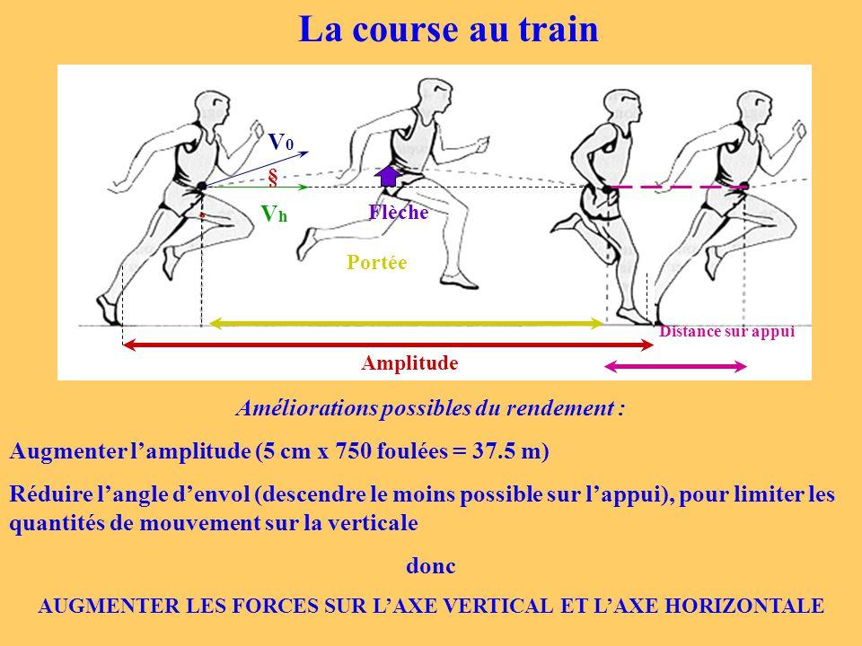 V0V0 VhVh Portée Amplitude Distance sur appui Flèche § La course au train Améliorations possibles du rendement : Augmenter l'amplitude (5 cm x 750 fou