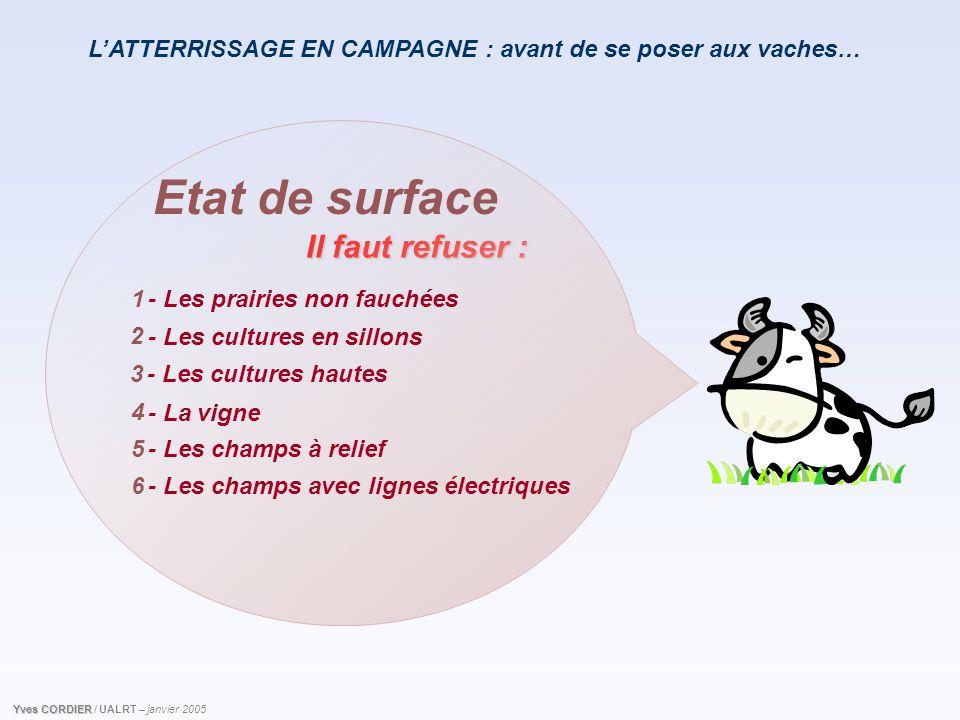 L'ATTERRISSAGE EN CAMPAGNE : avant de se poser aux vaches… Il faut refuser : Etat de surface - Les prairies non fauchées - Les cultures en sillons Yve
