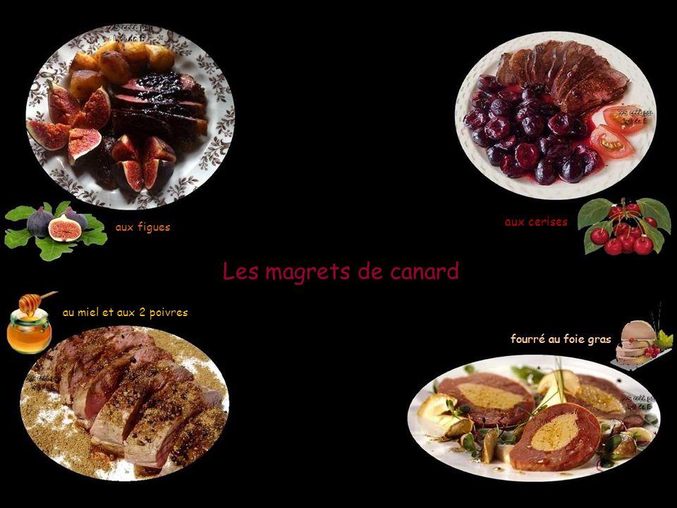Les magrets de canard aux figues aux cerises au miel et aux 2 poivres fourré au foie gras