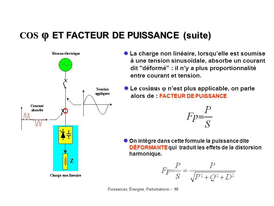 Puissances, Énergies, Perturbations – 10 La charge non linéaire, lorsqu'elle est soumise à une tension sinusoïdale, absorbe un courant dit