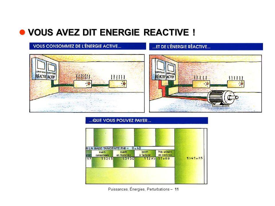 Puissances, Énergies, Perturbations – 11 VOUS AVEZ DIT ENERGIE REACTIVE ! VOUS AVEZ DIT ENERGIE REACTIVE !