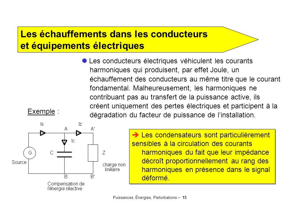 Puissances, Énergies, Perturbations – 15 Les échauffements dans les conducteurs et équipements électriques Les conducteurs électriques véhiculent les
