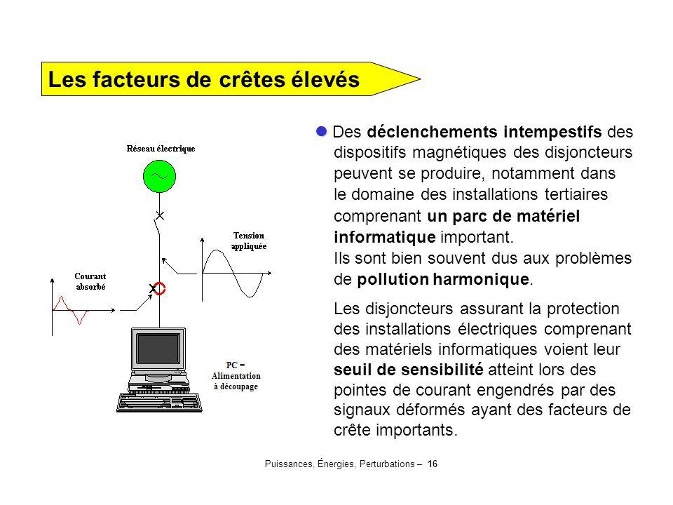 Puissances, Énergies, Perturbations – 16 Des déclenchements intempestifs des dispositifs magnétiques des disjoncteurs peuvent se produire, notamment d