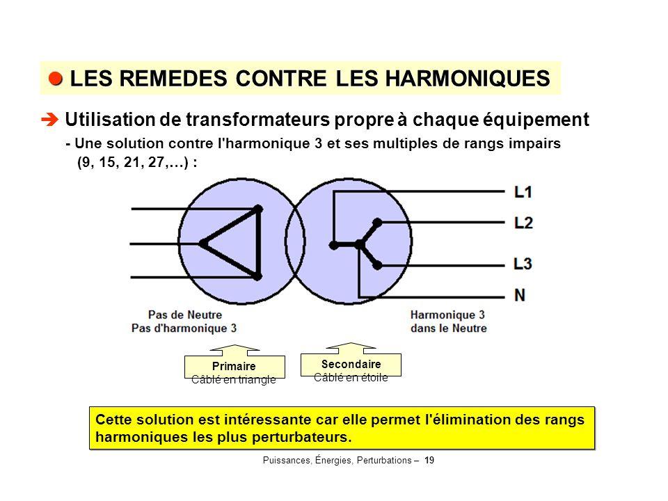 Puissances, Énergies, Perturbations – 19 LES REMEDES CONTRE LES HARMONIQUES LES REMEDES CONTRE LES HARMONIQUES  Utilisation de transformateurs propre