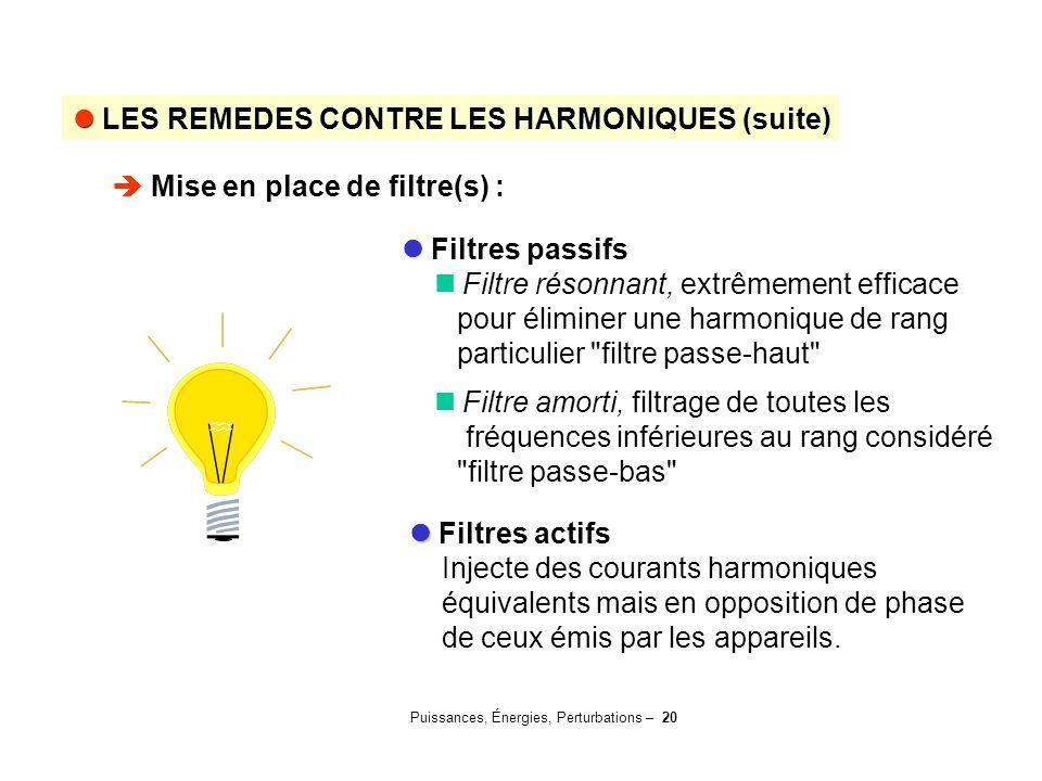 Puissances, Énergies, Perturbations – 20 Filtres passifs Filtre résonnant, extrêmement efficace pour éliminer une harmonique de rang particulier