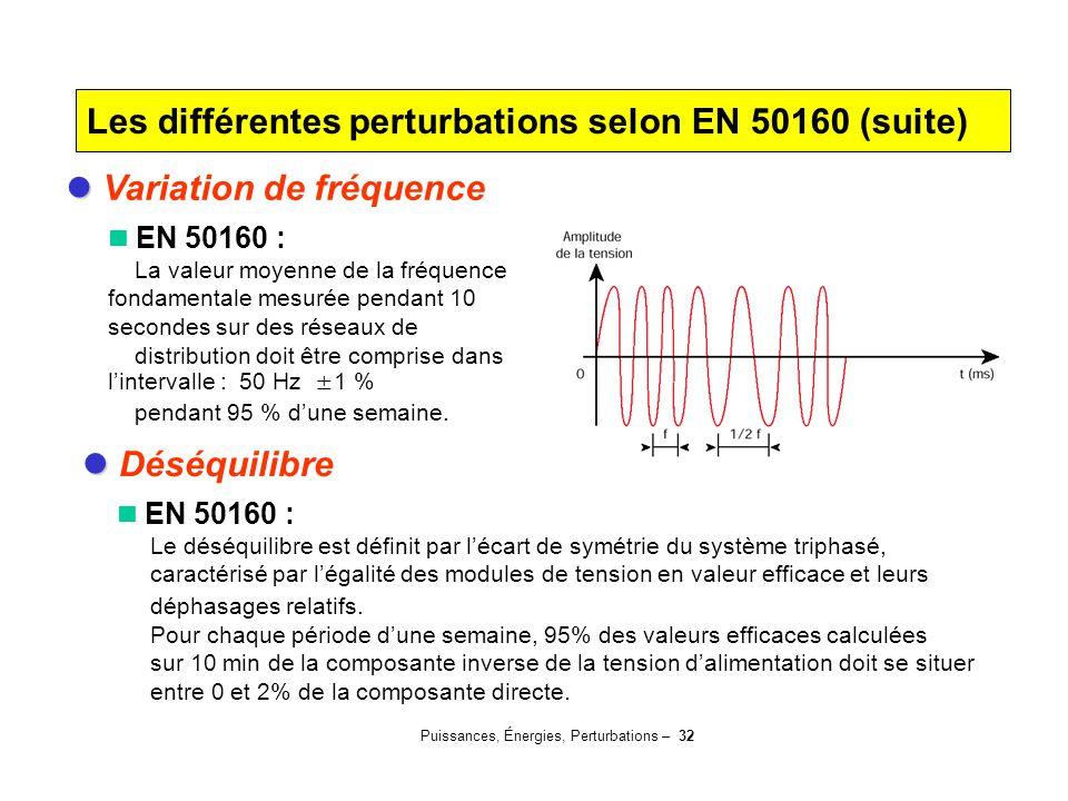 Puissances, Énergies, Perturbations – 32 Variation de fréquence EN 50160 : La valeur moyenne de la fréquence fondamentale mesurée pendant 10 secondes