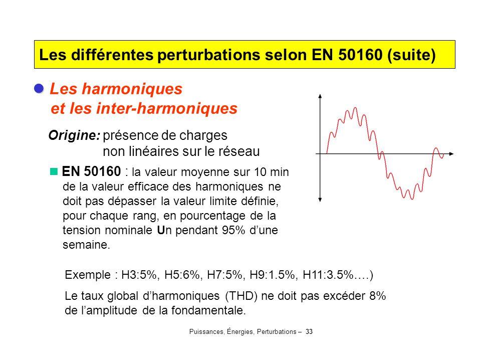 Puissances, Énergies, Perturbations – 33 Les harmoniques et les inter-harmoniques Origine: présence de charges non linéaires sur le réseau EN 50160 :