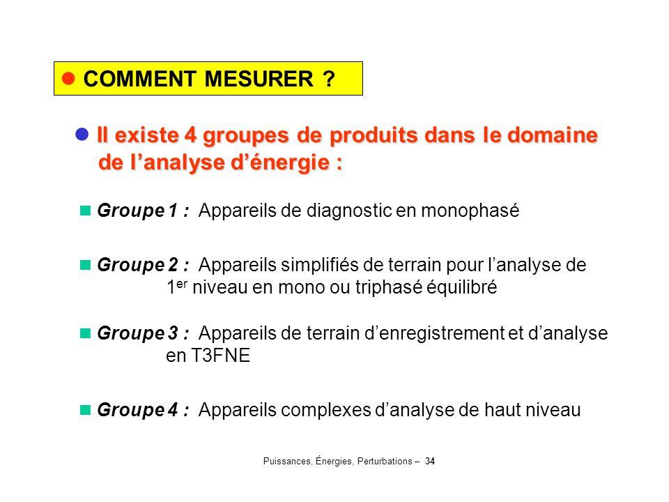 Puissances, Énergies, Perturbations – 34 COMMENT MESURER ? Il existe 4 groupes de produits dans le domaine de l'analyse d'énergie : de l'analyse d'éne