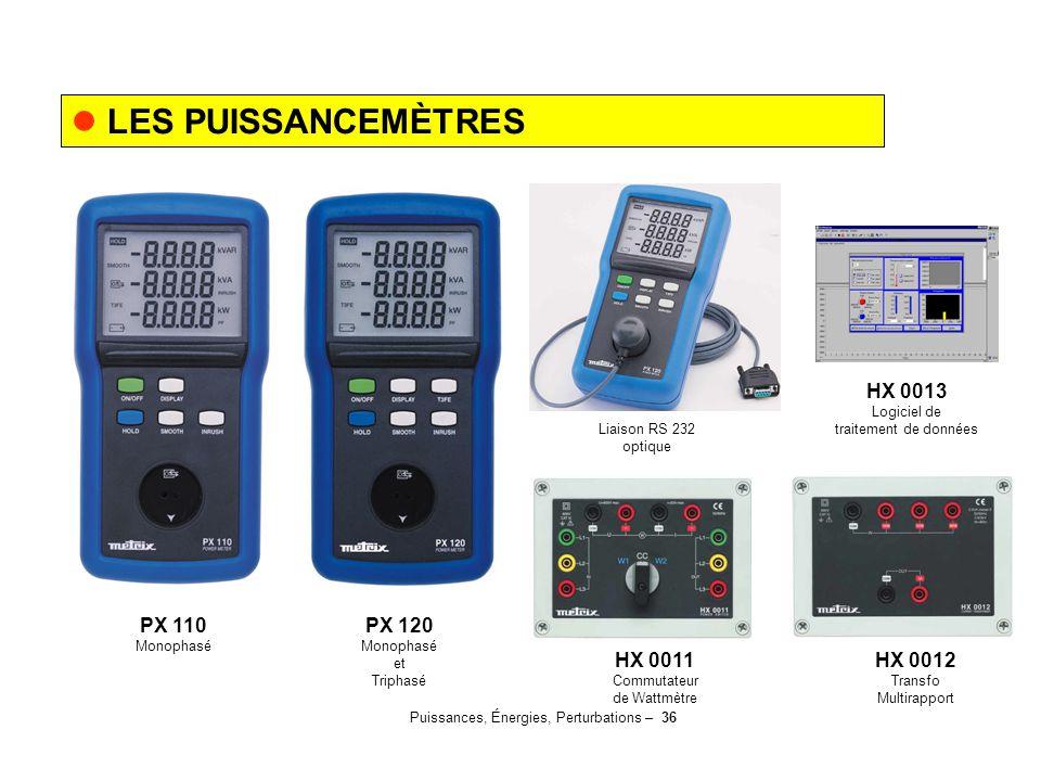Puissances, Énergies, Perturbations – 36 LES PUISSANCEMÈTRES PX 110 Monophasé PX 120 Monophasé et Triphasé HX 0011 Commutateur de Wattmètre HX 0012 Tr