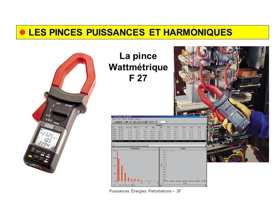 Puissances, Énergies, Perturbations – 37 LES PINCES PUISSANCES ET HARMONIQUES La pince Wattmétrique F 27