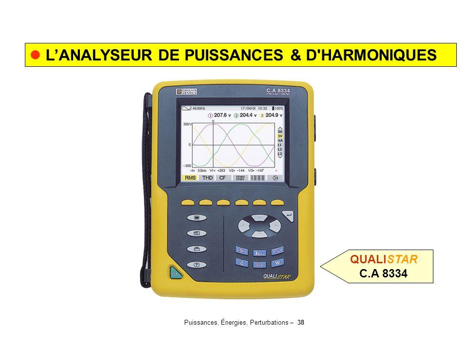 Puissances, Énergies, Perturbations – 38 L'ANALYSEUR DE PUISSANCES & D'HARMONIQUES QUALISTAR C.A 8334