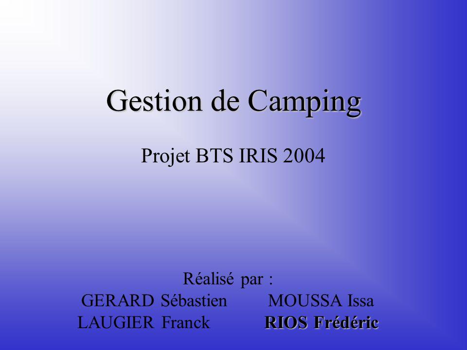 Gestion de Camping Projet BTS IRIS 2004 RIOS Frédéric Réalisé par : GERARD SébastienMOUSSA Issa LAUGIER FranckRIOS Frédéric