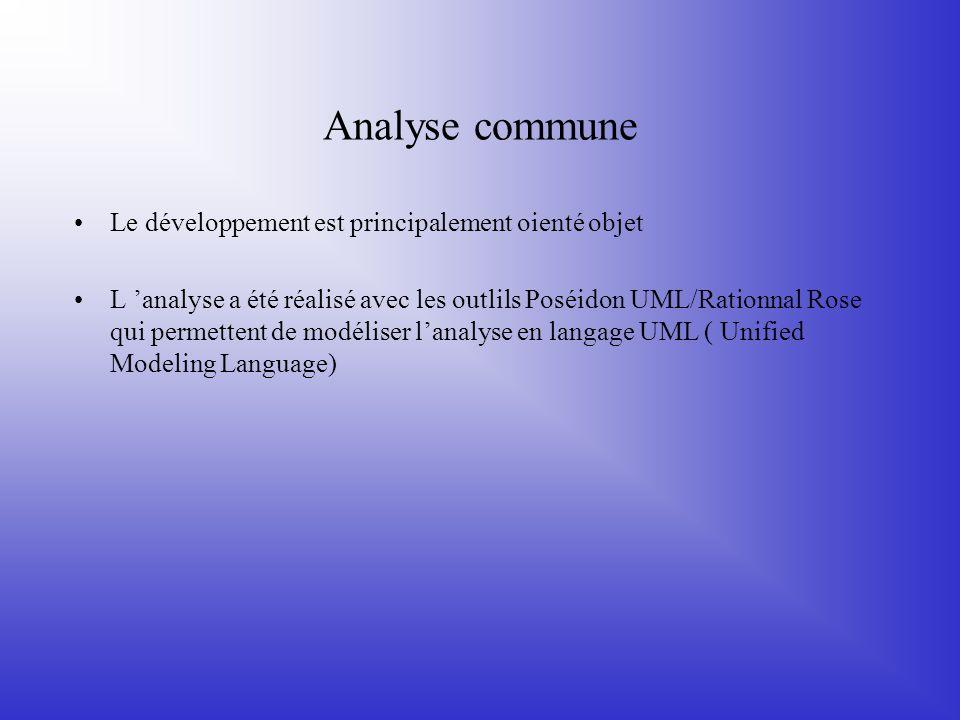 Analyse commune Le développement est principalement oienté objet L 'analyse a été réalisé avec les outlils Poséidon UML/Rationnal Rose qui permettent
