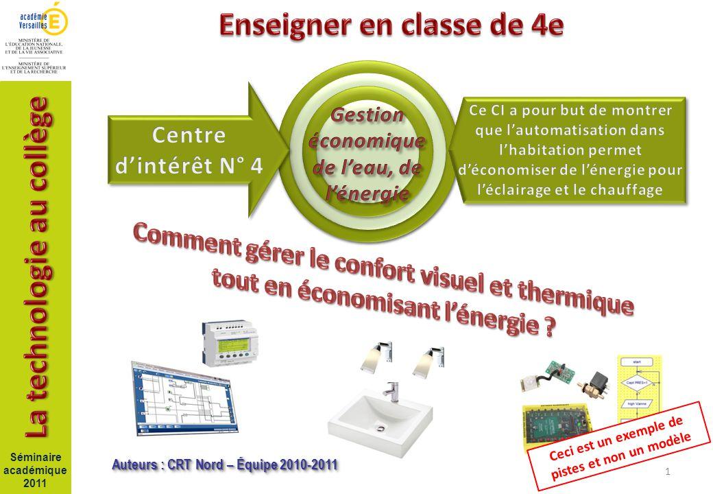 1 Séminaire académique 2011 Auteurs : CRT Nord – Équipe 2010-2011 Ceci est un exemple de pistes et non un modèle