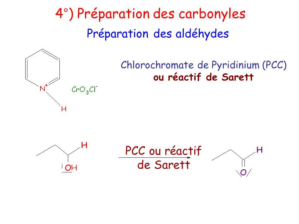 4°) Préparation des carbonyles Préparation des aldéhydes Chlorochromate de Pyridinium (PCC) ou réactif de Sarett PCC ou réactif de Sarett