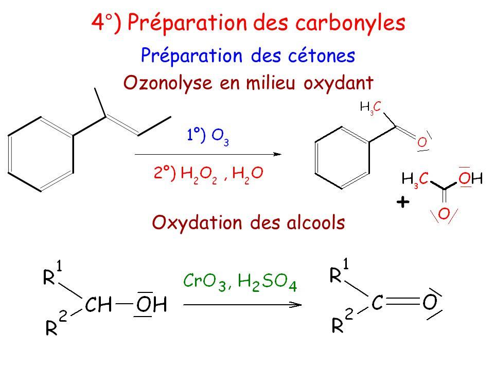 Ozonolyse en milieu oxydant 4°) Préparation des carbonyles Préparation des cétones Oxydation des alcools +
