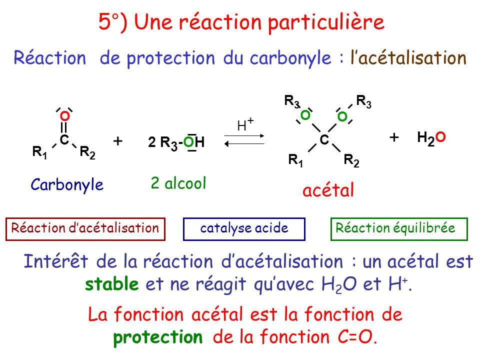 R1R1 C R2R2 O R1R1 C R2R2 O O R3R3 R3R3 + H2OH2O H+H+ acétal Réaction d'acétalisationcatalyse acideRéaction équilibrée + 2 R 3 -OH 2 alcool Intérêt de la réaction d'acétalisation : un acétal est stable et ne réagit qu'avec H 2 O et H +.