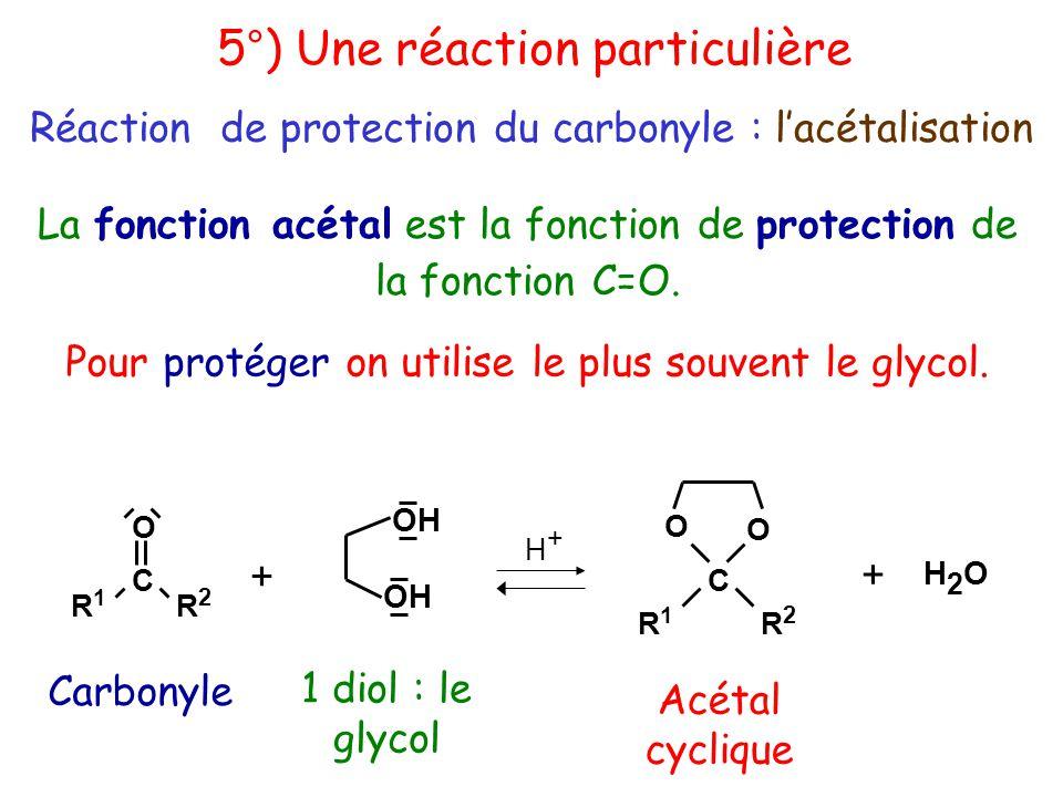 OH R1R1 C R2R2 O + R1R1 C R2R2 O O + H2OH2O H+H+ La fonction acétal est la fonction de protection de la fonction C=O.