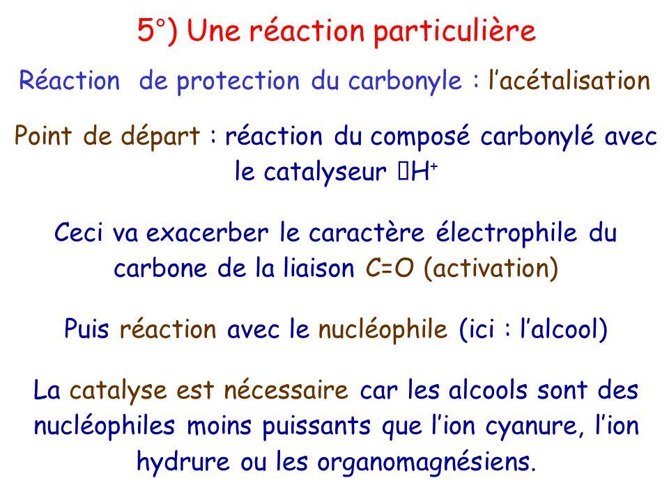Point de départ : réaction du composé carbonylé avec le catalyseur H + Ceci va exacerber le caractère électrophile du carbone de la liaison C=O (activation) Puis réaction avec le nucléophile (ici : l'alcool) La catalyse est nécessaire car les alcools sont des nucléophiles moins puissants que l'ion cyanure, l'ion hydrure ou les organomagnésiens.