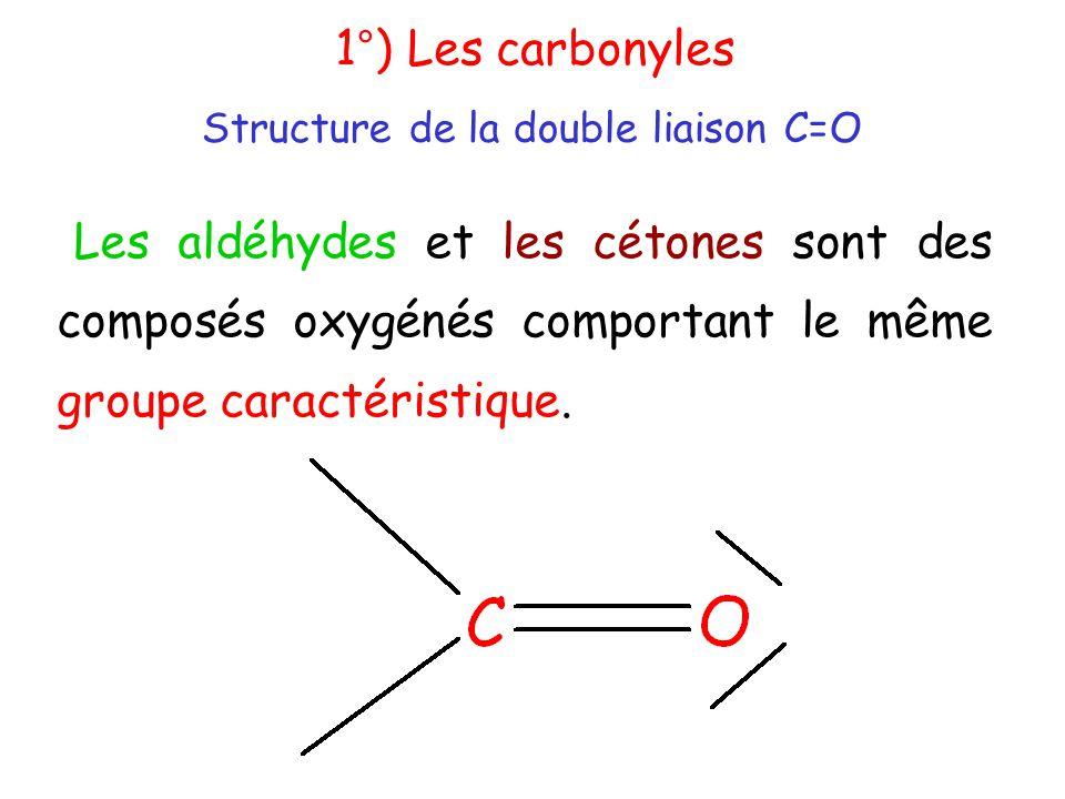 Les aldéhydes et les cétones sont des composés oxygénés comportant le même groupe caractéristique.