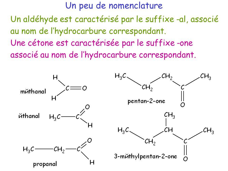 Un aldéhyde est caractérisé par le suffixe -al, associé au nom de l'hydrocarbure correspondant.