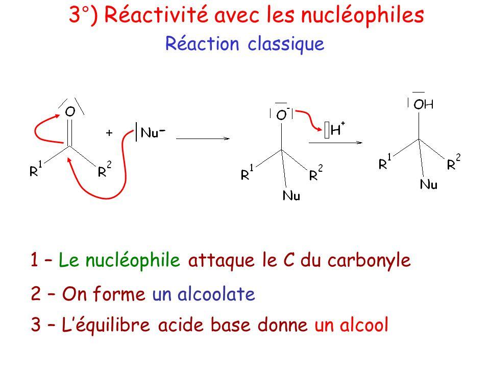 Réaction classique 3°) Réactivité avec les nucléophiles 1 – Le nucléophile attaque le C du carbonyle 2 – On forme un alcoolate 3 – L'équilibre acide base donne un alcool