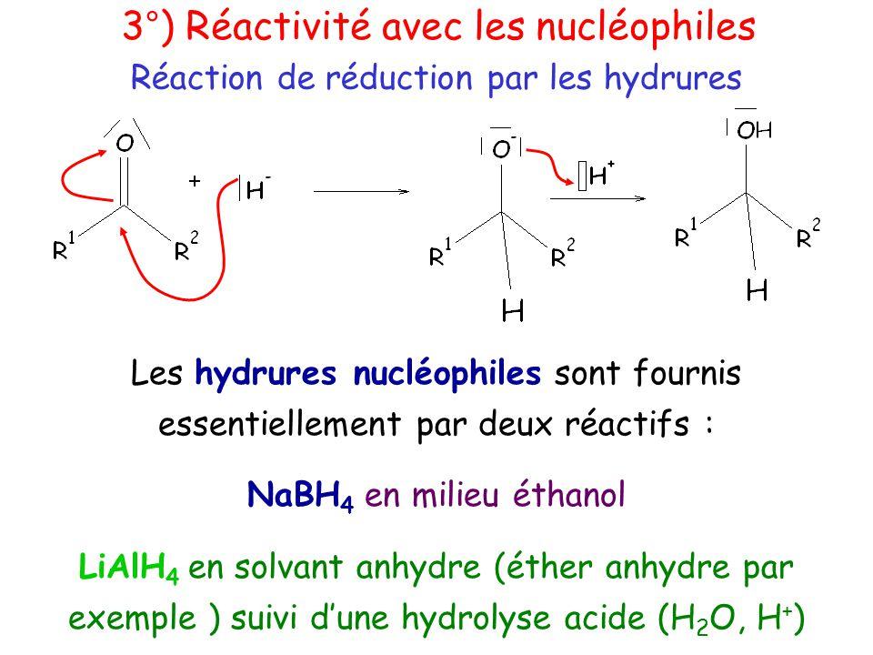 Les hydrures nucléophiles sont fournis essentiellement par deux réactifs : NaBH 4 en milieu éthanol LiAlH 4 en solvant anhydre (éther anhydre par exemple ) suivi d'une hydrolyse acide (H 2 O, H + ) Réaction de réduction par les hydrures 3°) Réactivité avec les nucléophiles