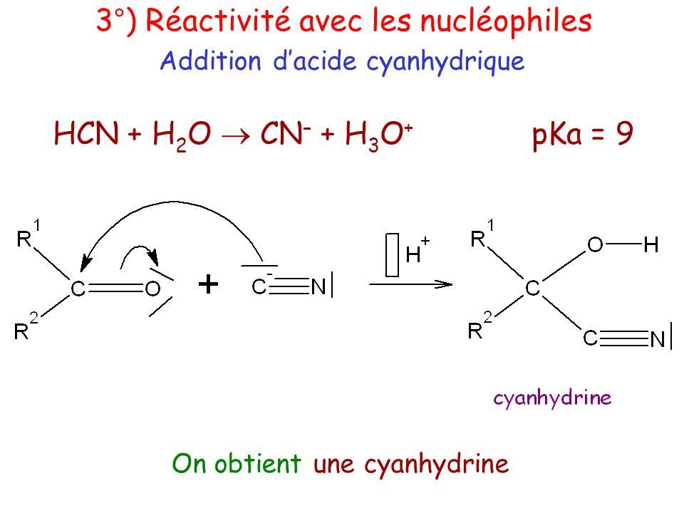 HCN + H 2 O  CN – + H 3 O + pKa = 9 Addition d'acide cyanhydrique 3°) Réactivité avec les nucléophiles On obtient une cyanhydrine