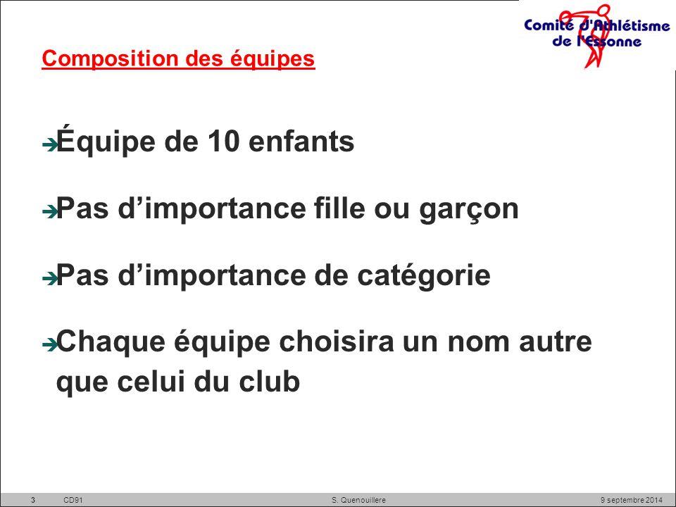 Composition des équipes  Équipe de 10 enfants  Pas d'importance fille ou garçon  Pas d'importance de catégorie  Chaque équipe choisira un nom autre que celui du club 9 septembre 2014 CD91S.
