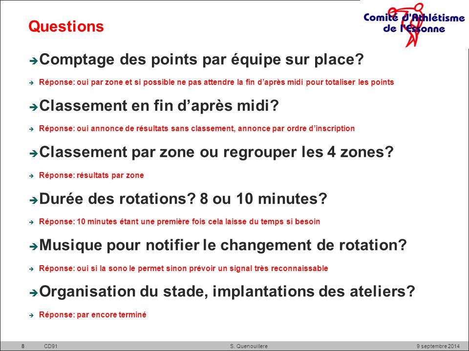 Questions  Comptage des points par équipe sur place.