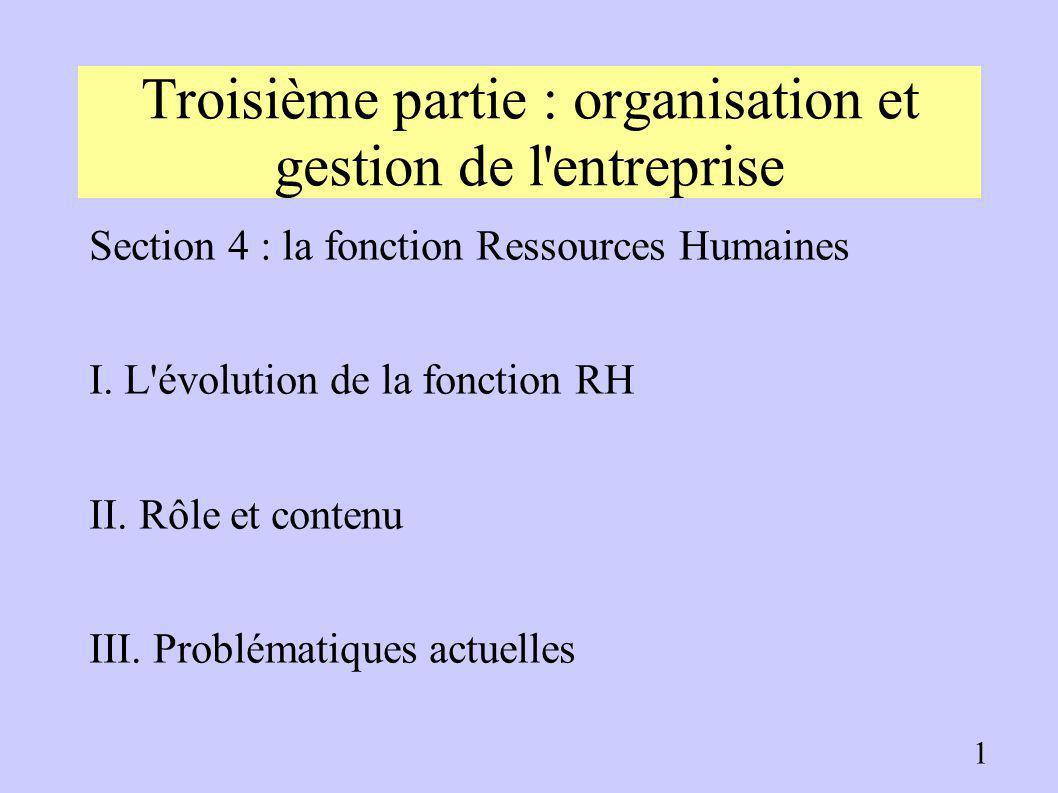 Troisième partie : organisation et gestion de l entreprise Section 4 : la fonction Ressources Humaines I.