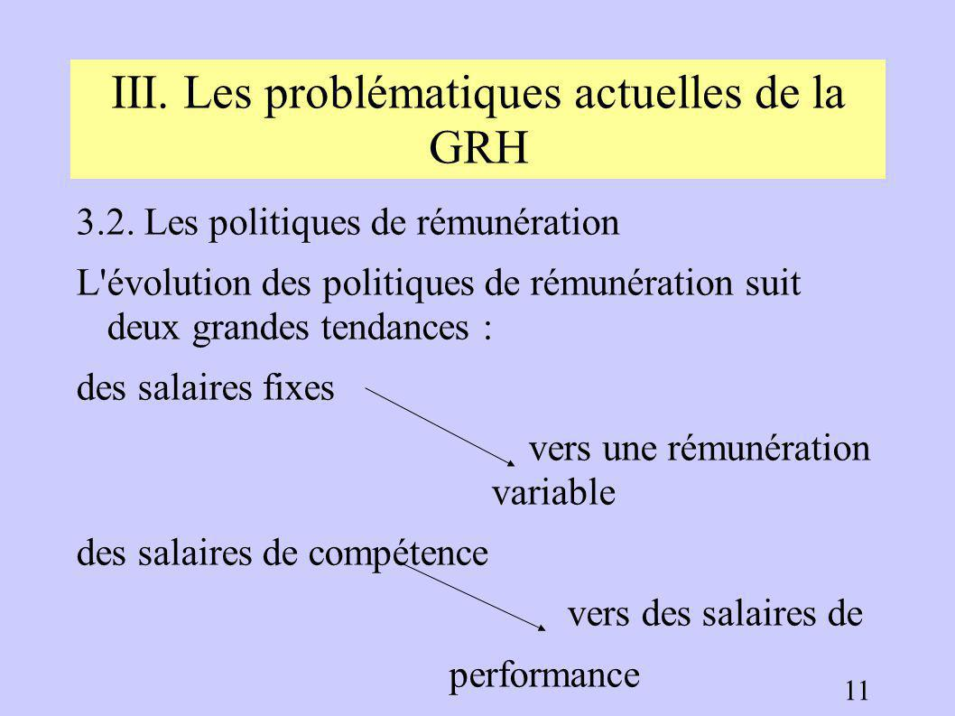 III. Les problématiques actuelles de la GRH 10