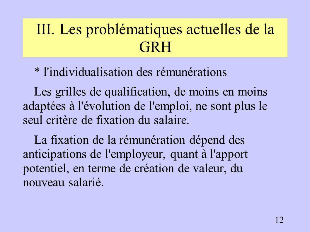 III. Les problématiques actuelles de la GRH 3.2. Les politiques de rémunération L'évolution des politiques de rémunération suit deux grandes tendances